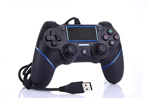 Intckwan PS4 Wired Game Controller für Playstation 4 / Pro / Slim / PC / Laptop, USB-Stecker Gamepad Joystick mit Dual Vibration und Anti-Rutsch-Griff, Ergonomie, 2M Kabel, Schwarz, blau