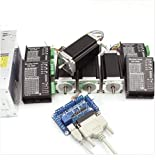 4 Axis Stepper Motor Nema 23 Dual Shaft 425oz-in 112mm+CW5045 Driver 4.5A 256 Microstep+5 Axis Breakut Board+400W 36V Power Supply CNC Controller Kit For CNC Router Engraver Milling Machine