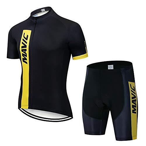 STEPANZU Maillot Cyclisme Homme Manche Courte+Cuissard 3D Gel Coussin Route VTT Combinaison Vélo Respirant Séchage Rapide