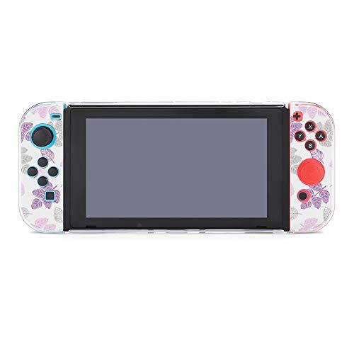 Funda para Nintendo Switch, diseño de hojas de color morado, 5 piezas,...