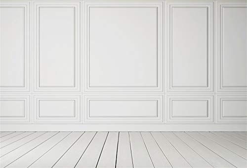 Laeacco Empty Room Architectural Background 7x5ft Vinyl Photography Background Classic Style White Wall Wooden Floor Houses Flats Interior Vintage White 3D Blank Decor Elegant Backdrop Photo Studio