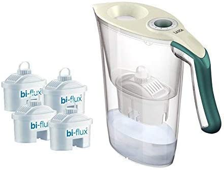 LAICA - Kit J9059- Carmen Tosca - Carafe filtrante avec 4filtres Bi-Flux - Plastique - Couleurs : crème et Vert foncé