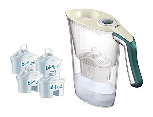 LAICA J9059 Wasserfilter Tosca Farbe creme/dunkelgrün + 4 Stk. Filterkartuschen bi-flux