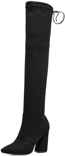 AOOEL AOOEL Femmes Cuisse Haute Au-dessus Du Genou Talon Haut Les Les dames Bloquer Le Talon Lacer Bottes Chaussures Taille  vente discount en ligne