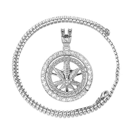 Halukakah Cadena de Oro para Hombre,Acabado en Oro Blanco Platino Collar con Colgante Giratorio de Marihuana Cz Completa Diamantes de Laboratorio con Cadena de Tenis Bebé 50cm Caja