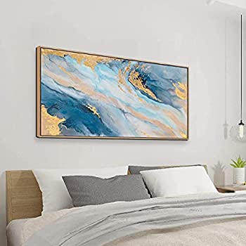 ARTLAND Canvas Wall Art for Living Room Modern Navy Blue Abstract Mountains Painting Landscape Artworks for Bedroom Bathroom Kitchen Wall Décor Framed Ready to Hang 20x40 inches