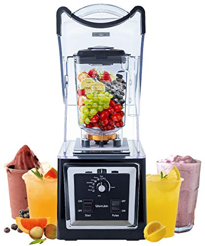 Wantjoin Professional Commercial Soundproof Quiet blender for ice crushing,smoothie,puree,hummus,salsa. Blender for kitchen with intelligent and Manual control (black)