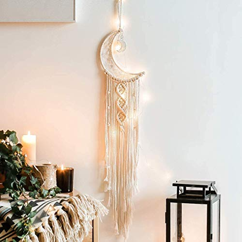 Koytoy Makramee Wandbehang Mond Traumfänger mit LED Licht Handgefertigt Gewebte Dreamcatcher Boho Traumfänger Haus Dekoration Chic Home Decor Geschenke Apartment Schlafsaal Raumdekoration