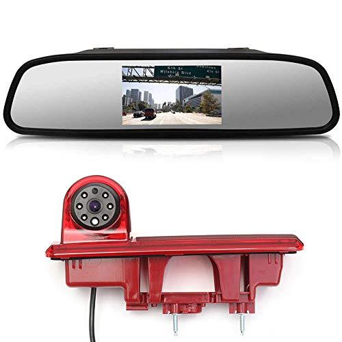 〔Kit de cámara de visión Trasera〕4.3'' Espejo retrovisor Monitor + Coche Tercera luz de Freno Cámara de Marcha atrás para Fiat Talento Nissan NV300 Renault Trafic III Primastar Opel/Vauchall V