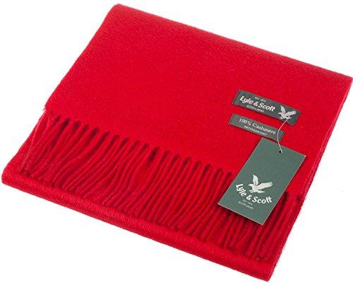 Lyle & Scott Unisex Cashmere Scarf In Red Tartan Design 25.5 cm Wide