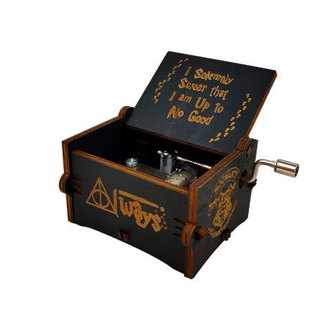XIAOLUO Handgekurbelte Spieluhr aus hölzernem Kunsthandwerk für Reisegedenkfeiern zum Geburtstag vonHarry Potter