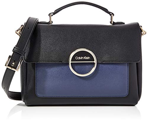 Calvin Klein - Disc Top Handle Md, Bolsos maletín Mujer, Negro (Black Mix), 1x1x1 cm (W x H L)