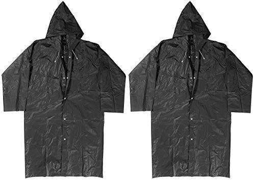 PEARL Regencape: Regenmantel mit Kapuze, Universalgröße, schwarz, 2er-Set (Regenmantel Damen)