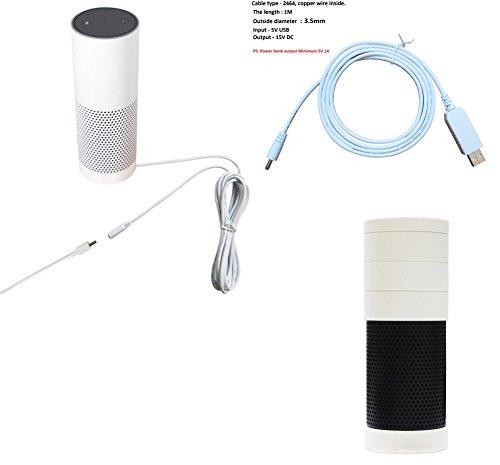 Meres 3 en 1 amazon echo Accesorios Kit - Cable de extensión 3M cable + 1M Cable de carga USB + funda de piel de silicona para amazon echo (Blanco)