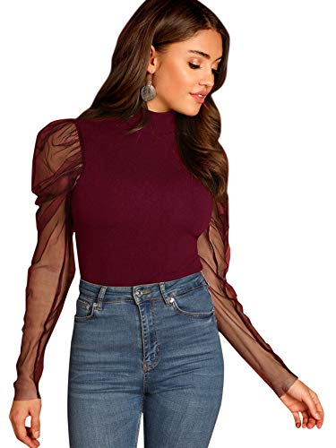 Romwe Women's Mesh Puff Sleeve High Neck Slim Fit Party Blouse Top Burgundy Large