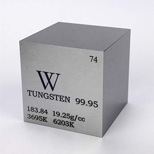1 inch 25.4mm Tungsten Metal Cube 315g 99.95% Engraved Periodic Table W Specimen