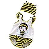 Cdet. 2pcs Enfant Maillot de Bain Unisexe Une Pièce Nylon Confortable et Respirant Manche Large avec Bonnet de Bain pour Plage...