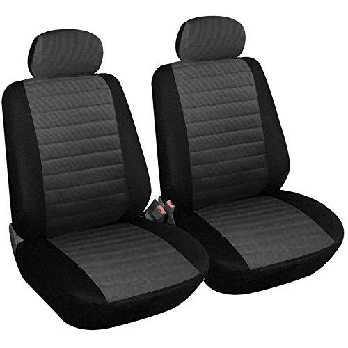 eSituro SCSC0035 2er Einzelsitzbezug universal Sitzbezüge für Auto Schonbezug Schoner aus Polyester grau
