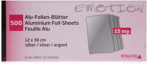 Efalock Professional Alufolien-Blätter, silber, 1er Pack, (1x 500 Stück)