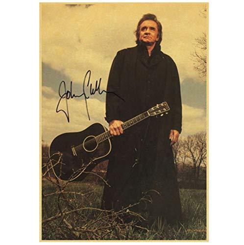 Qylfsxb Country Music Singer Johnny Cash Portrait Poster Wall Art Creative Wallpaper Interior Decoration Print on Canvas 50x70cm No Frame