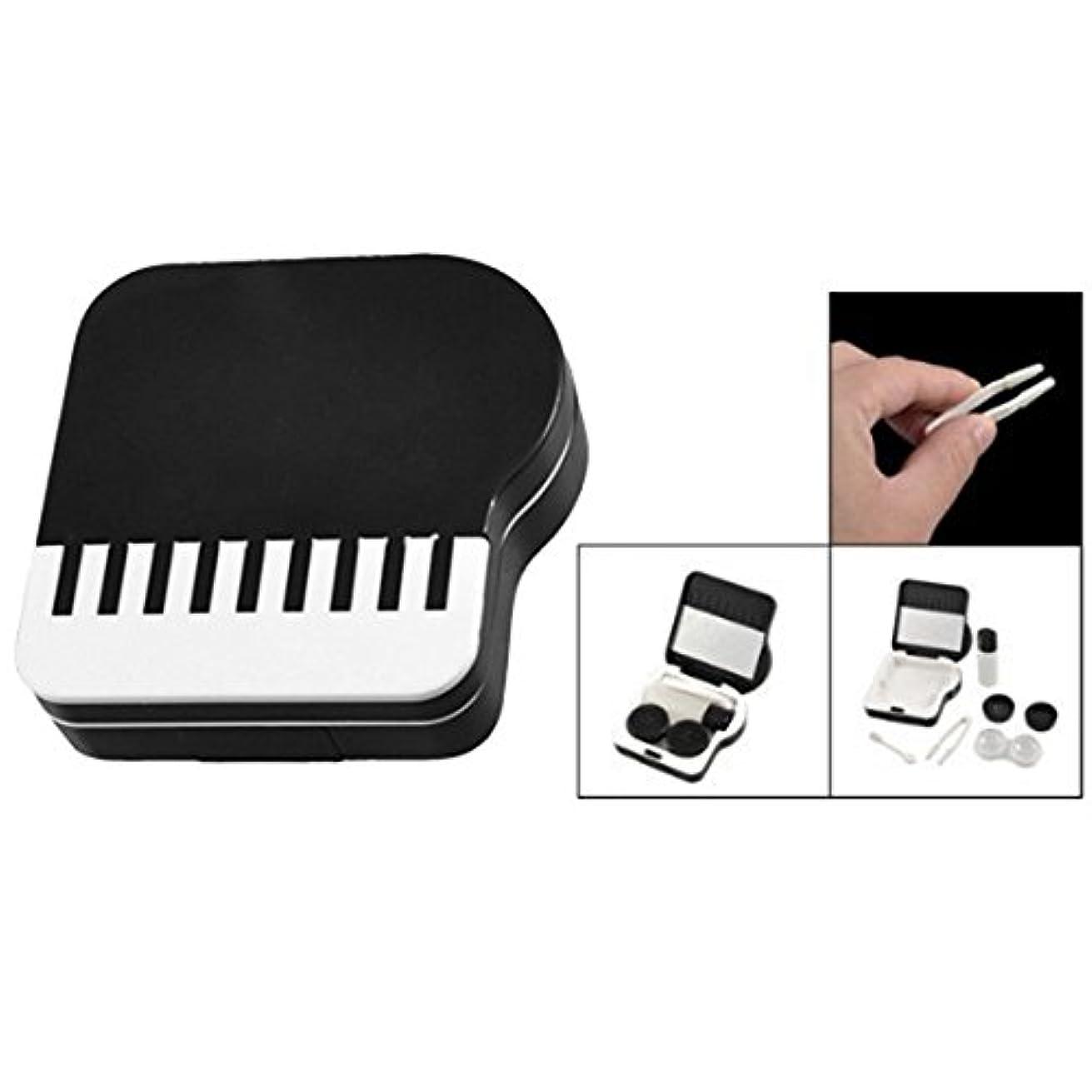 現実竜巻仕様ACAMPTAR ピアノのデザイン 目に見えないコンタクトレンズボックス ケース-黒&白
