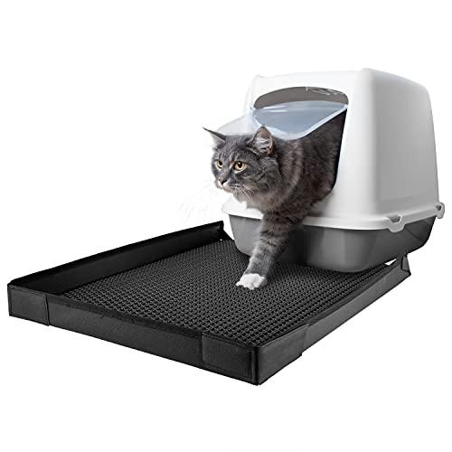 Petigi Katzenklo Matte Katzenstreu Katzen XXL Katzentoilette für Katze Katzenmatte Katzenstreumatte Vorleger Unterleger Auffangmatte mit Rand (60x46 cm) Wabenmuster