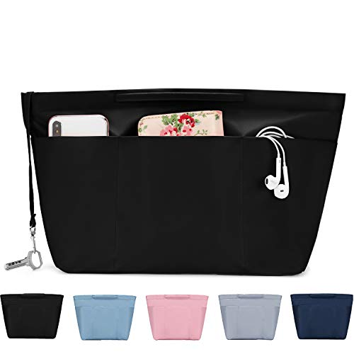 bridawn Nylon Tote Organizer Purse Insert Pocketbook Organizer Insert Handbag Divider with Handles Zipper Closure