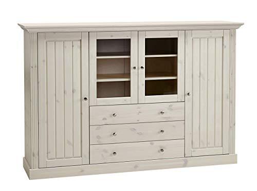 Steens Monaco Highboard, 2 große, 2 kleine Türen und 3-Schubladen, 123 x 186 x 46 cm (B/H/T), Kiefer massiv, weiß lasiert