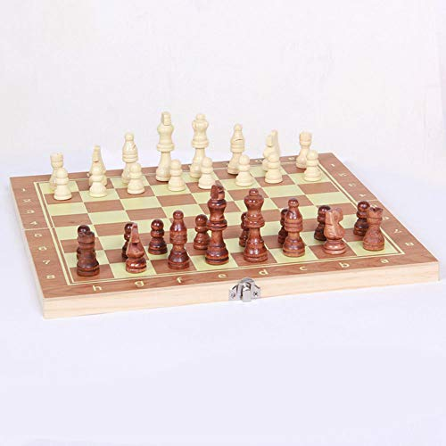 3-in-1 Schach-Set, faltbar, Reiseschachbrett, Holz-Schachspiel für Party, Familienaktivitäten, Erwachsene und Kinder (621A)