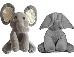 OMGOD Plush Toy peek-a-Boo Elephant, Hide-and-Seek Game Baby Animated Plush Elephant Doll Present - Gray