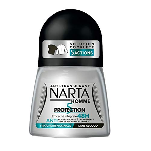 Narta Homme Roll-on Anti-Transpirant 5 Actions Efficacité 48h Fraîcheur Maximale 50ml (lot de 4)
