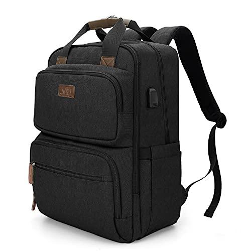 Travel Laptop Backpack, Business Durable Backpack with USB Charging Port for Men Women, Water Resistant Computer Bag College School Bookbag Backpack Fits 15.6 Inch Laptop, Black