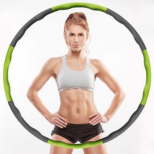 Aoweika Hula Hoop Reifen für Kinder Erwachsene, Zusammenklappbare & Einstellbare Fitness Ubung Hula Hoop und Springseil zur Gewichtsreduktion Profis Anfanger - Grün & Grau
