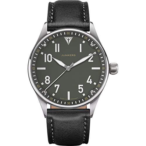 Junkers Flieger Analog Quarz Uhr Lederarmband Saphirglas grün 9.02.01.06