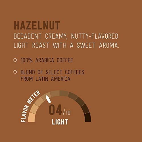 Amazon Brand - 100 Ct. Happy Belly Light Roast Coffee Pods, Hazelnut Flavored, Compatible with Keurig 2.0 K-Cup Brewers