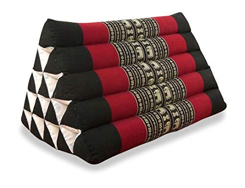 livasia Großes Dreieckskissen als Rückenstützkissen, Thaikissen BZW. Keilkissen, Nackenkissen für das Bett (schwarz/Elefanten)