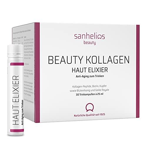 Sanhelios Beauty Kollagen HAUT-ELIXIER – Anti Aging zum Trinken* - der Testsieger - 30 Trinkampullen - 2500 mg Premium-Kollagen-Peptide + Biotin, Kupfer & Vitamin C, Blütenhonig & Gelée Royale