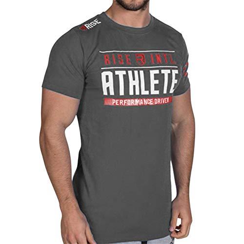 Anmur メンズ Tシャツ 半袖 トレーニングウェア フィットネス ジムtシャツ 吸汗速乾 スポーツ ジャー tシャツ 筋トレ ボディビル グレー 2XL