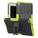 Maomi for KINDIE FlRE 7 case 2019 2017 Release (9th/7th Generation),Kickstand Shock-Absorption Heavy Duty Armor Defender Cover (Green)