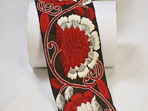 Saree Border 9 yardas al por mayor rojo decorativo bordado traje adornos costura cordones tela artesanía decoración del hogar cojines de cinta ajuste