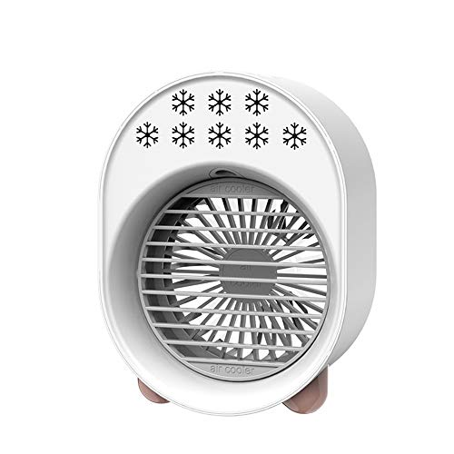 Mini Enfriador De Aire, Mini Aire Acondicionado Ventilador,USB Aire Acondicionado Refrigeración, Humidificación, Utilizado En Escritorios, Habitaciones, Oficinas (Color : White)