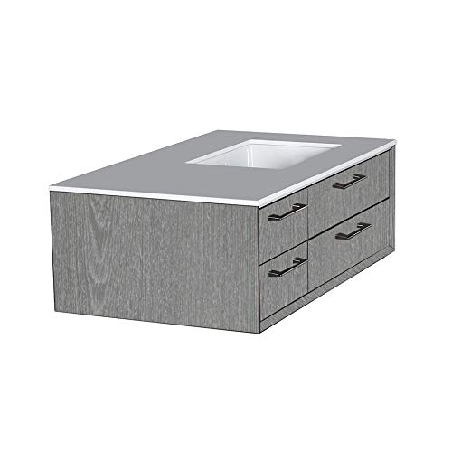 Great Deal! Cabinet of wall-mount under-counter vanity G313R which featuring three drawers and solid...