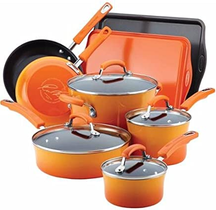 Rachael Ray Hard Enamel Nonstick 12-Piece Cookware Set (Orange)