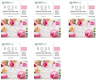 MIRABELLE COSMETICS KOREA Fairness Facial Mask ROSE PACK OF 5 MADE IN KOREA SUITABLE FOR ALL SKIN TYPE
