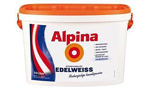 Alpina Edelweiß Hochergiebige Innenfarbe Lösemittelfrei gut deckend - Weiß Matt 2,5 Liter