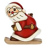 THUN - Soprammobile Babbo Natale sugli Sci - Decorazioni Natale Casa - Formato Medio - Ceramica - 6,5 x 5,5 x 7,5 h cm