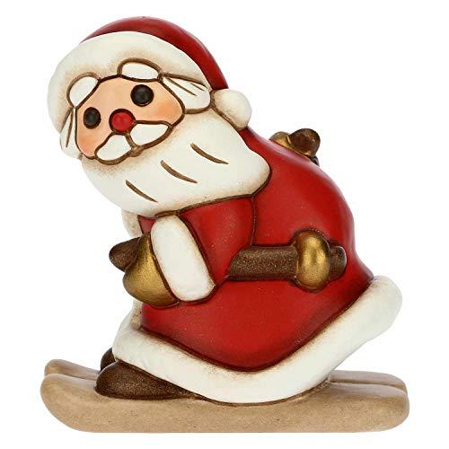 THUN - Soprammobile Babbo Natale sugli Sci - Decorazioni Natale Casa - Formato Medio - Ceramica -...