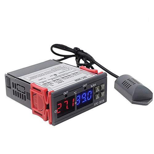 Kecheer Controlador de temperatura y humedad 12V/24V/220V,termómetro higrómetro digital con sonda sensor,Controlador de humidificador/deshumidificador