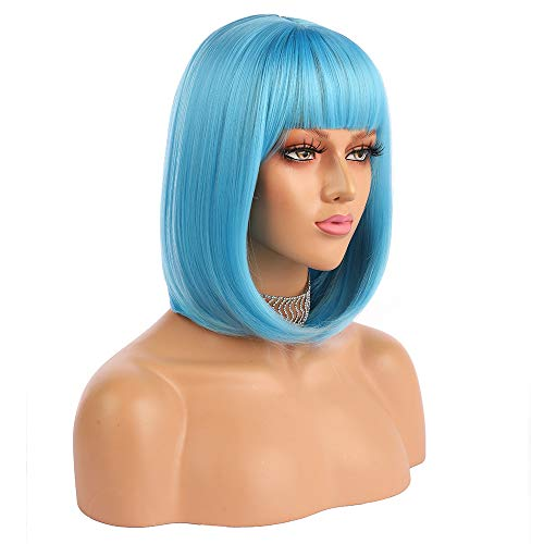 eNilecor Short Bob Hair Wigs 12' Straight with Flat Bangs Synthetic Colorful Cosplay Daily Party Wig for Women Natural As Real Hair+ Free Wig Cap (Blue)