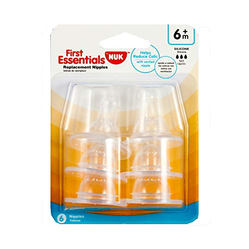 First Essentials by NUK™ Replacement Bottle Nipples, Silicone, Fast Flow, 6-Pack
